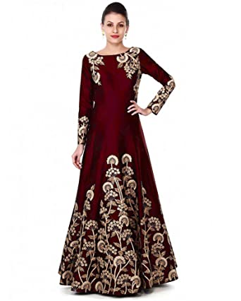 70e07d2a10 Siddeshwary Fab Women s Taffeta Silk Anarkali Gown(All Trilok  Coding Red Free Size)  Amazon.in  Clothing   Accessories