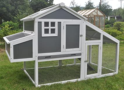 ChickenCoopOutlet 75u0026quot; Deluxe Wood Frame Chicken Coop With Plastic  Inserts Backyard Hen House 4
