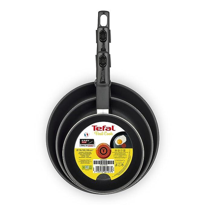 Tefal First Cook sartenes Negro Gas, Aluminio, Negro, 18/22/26 cm