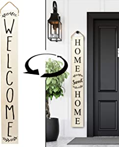 Tall Outdoor Welcome Sign for Porch - Vertical Welcome Sign for Front Porch (~5 Ft), Modern Farmhouse Decor for The Home, Front Porch Decor Farmhouse, Wooden Welcome Sign for Front Porch Decor (White)
