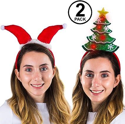 Light Up Christmas Headband Santa Headband 2 Pack Santa Hats Funny Party Hats Christmas Headbands Christmas Tree Headband