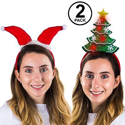 1ba52d6ab00eb Amazon.com  Funny Party Hats Christmas Headbands – Santa Headband – Santa  Hats – Christmas Tree Headband – Light Up Christmas Headband – 2 Pack  Toys    ...