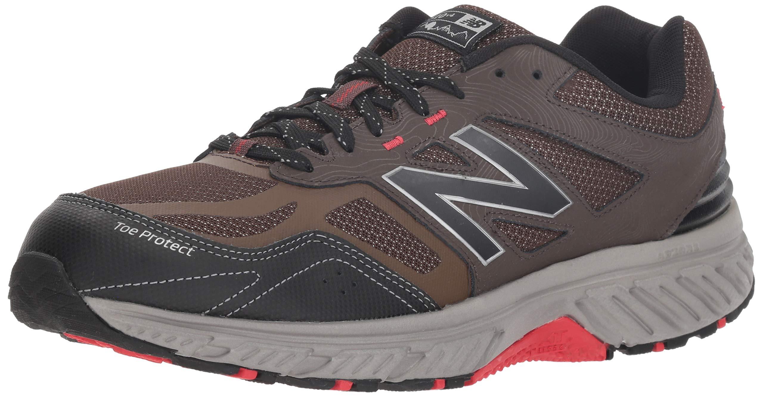 New Balance Men's 510v4 Cushioning Trail Running Shoe, Chocolate/Black/Team red, 8.5 XW US