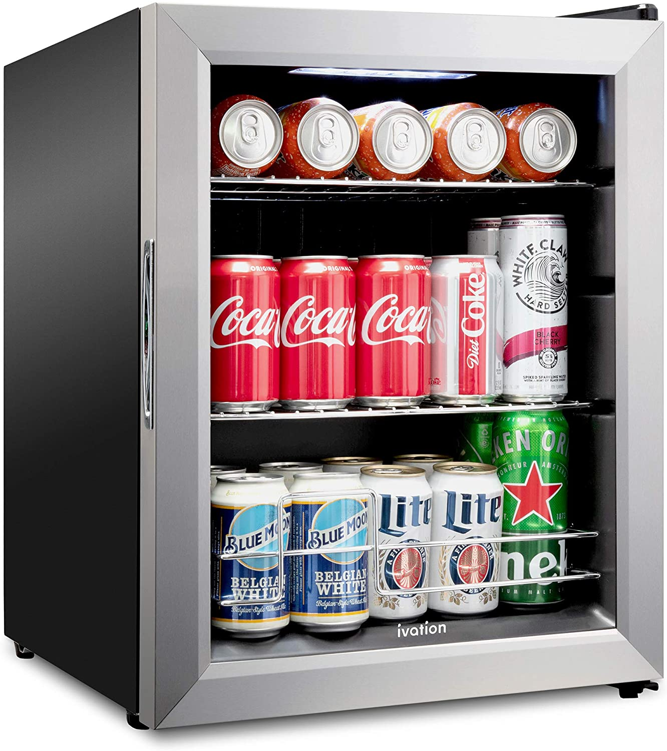 Ivation 62 Can Beverage Refrigerator | Freestanding Ultra Cool Mini Drink Fridge | Beer, Cocktails, Soda, Juice Cooler for Home & Office | Reversible Glass Door & Adjustable Shelving - Stainless Steel