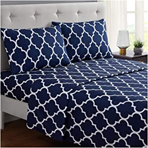 Mellanni Bed Sheet Set Queen-Navy-Blue - Brushed Microfiber Printed Bedding - Deep Pocket, Wrinkle, Fade, Stain Resistant - 4 Piece (Queen, Quatrefoil Navy Blue)