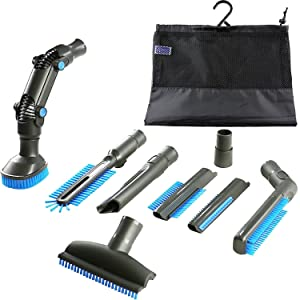 4YourHome Brush Attachment Tool Kit with Storage Bag for Vax, Shark Electrolux, Miele, Sebo, Tesco, VonHaus and Many Other Makes, Includes 8 Grey Tools with Blue bristles - Fits 32mm - 35mm Pipes