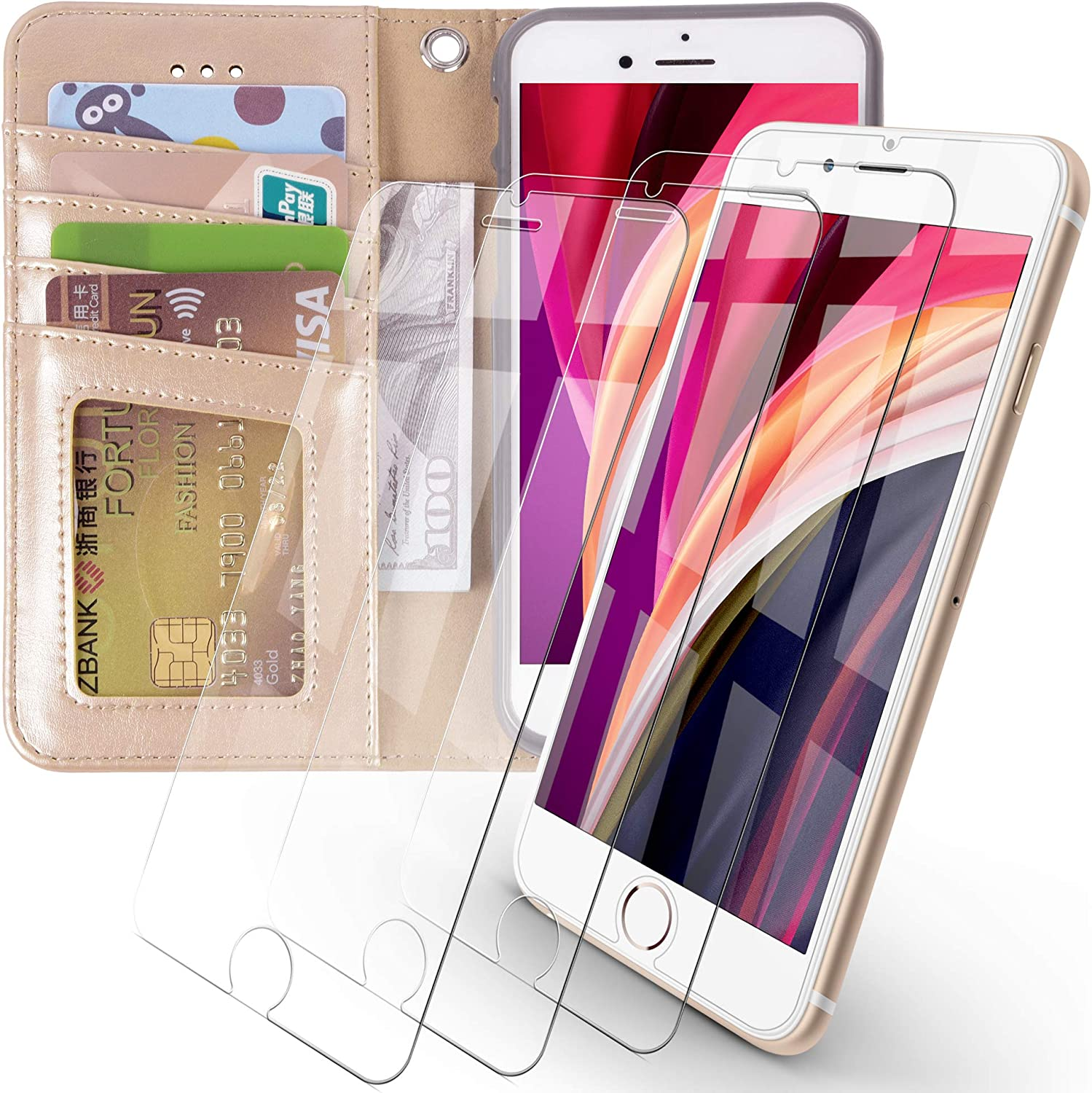 Arae iPhone 7 / iPhone 8 / iPhone SE 2020 Premium PU Leather Flip Cover Wallet Case (Champagne Gold) with 3 Pack Ultra-Thin HD Tempered Glass Screen Protectors, 4.7 inch