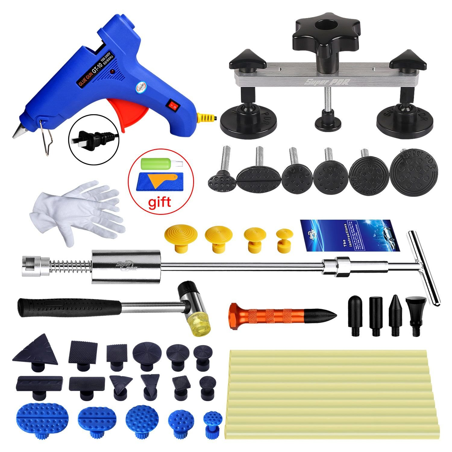 Fly5D 44pcs Auto Paintless Dent Repair Tool Kit with Pops a Dent for Car Dent Removal