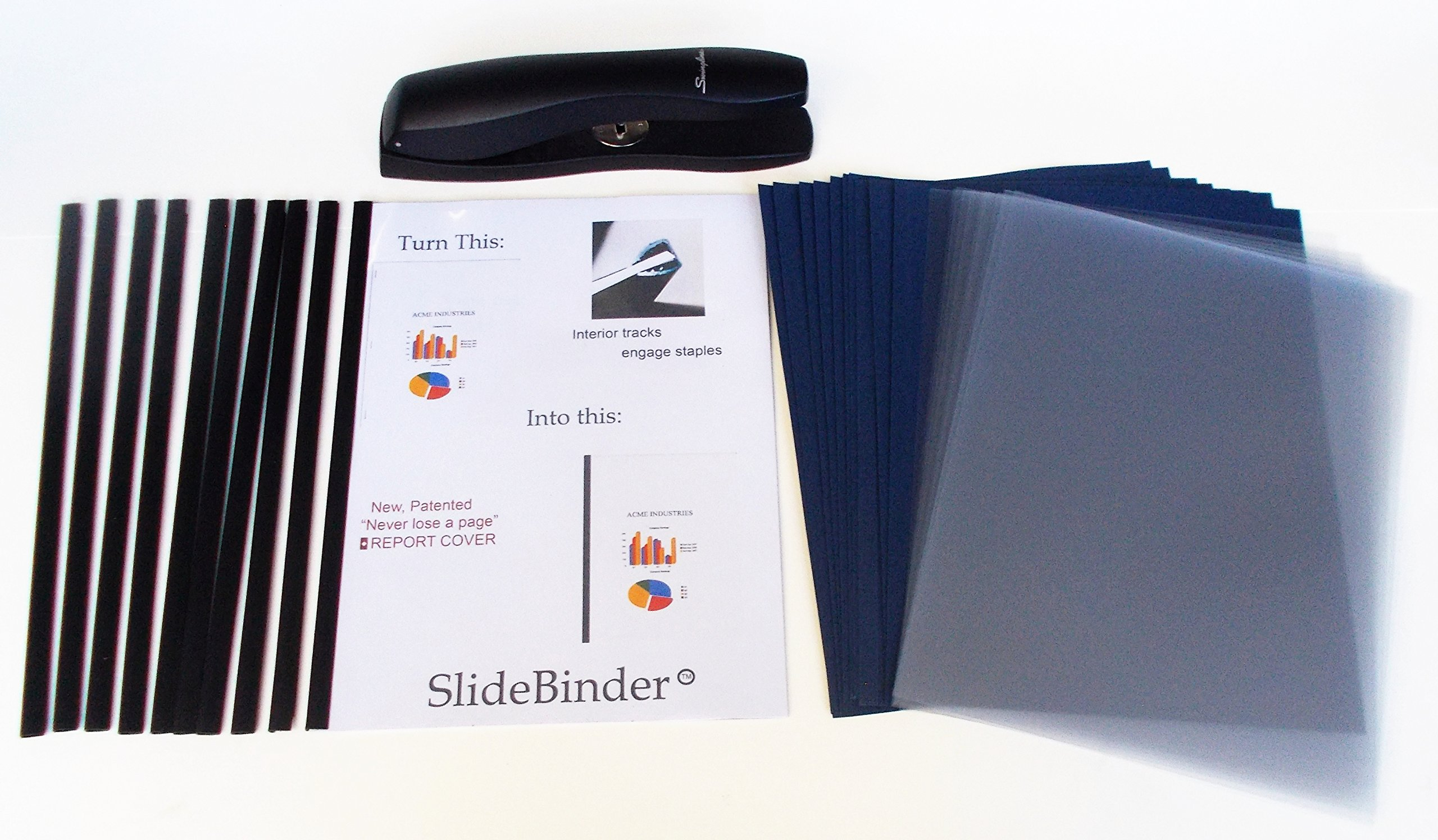 Newly Patented Premium SlideBinder tm Binding Bars with cCLEAR FRONT and NAVY LINEN cardstock back covers. Staple, slide, and never lose a page! SMALL SIZE for 1-12 sheets of 20lb paper (10 SETS)