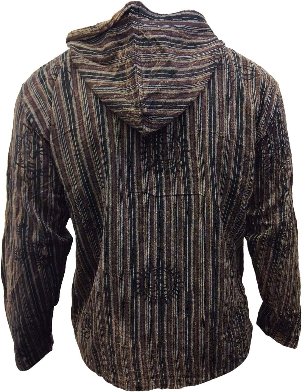 SHOPOHOLIC FASHION Camicia da uomo con cappuccio a righe