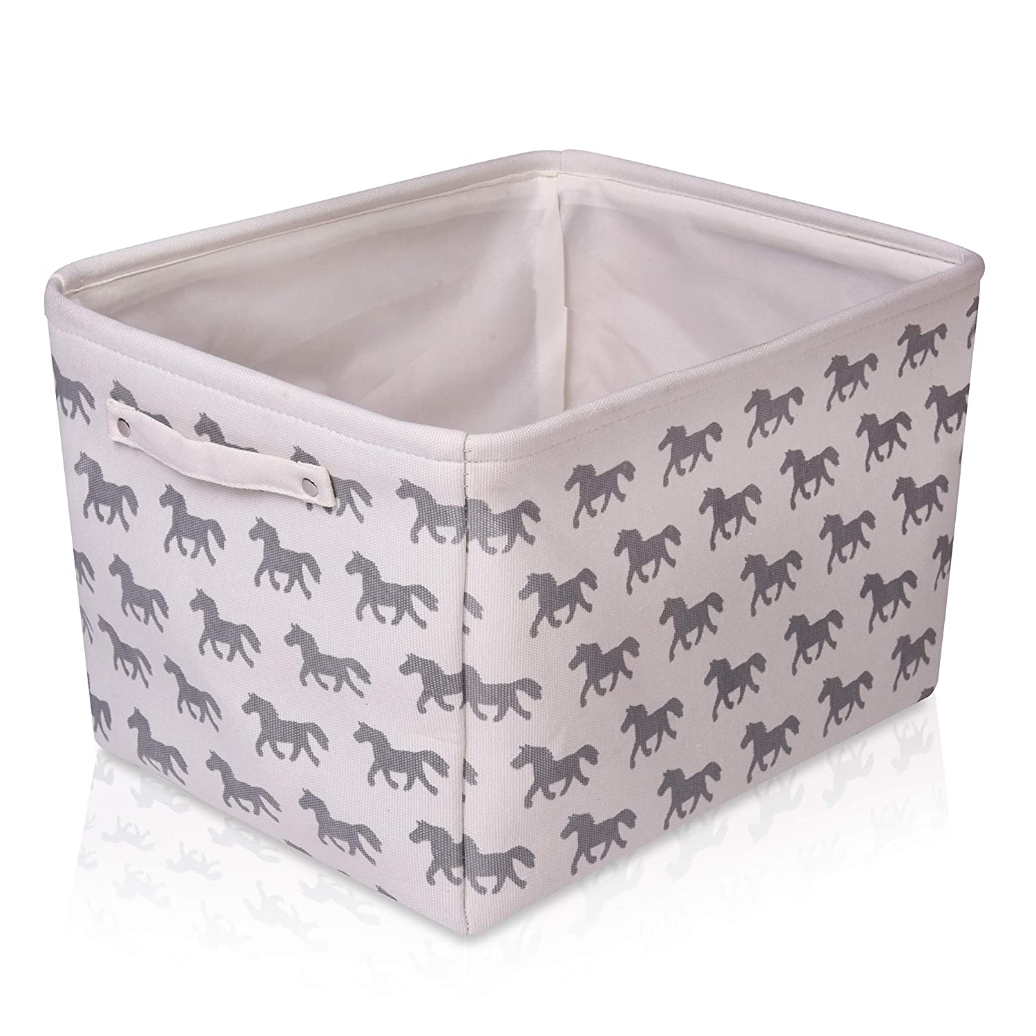 White Horse Canvas Storage Basket Rectangle Fabric Basket with Grey Horse Pattern - Perfect for Household Storage, Fabrics or Toys. Size: 40cms x 30cms x 25cms For the Love of Leisure
