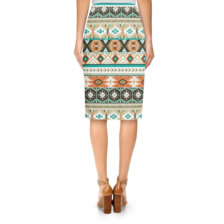 1bea249dcf Queen of Cases Earthy Aztec Tribal Geometric Midi Pencil Skirt - L:  Amazon.co.uk: Clothing