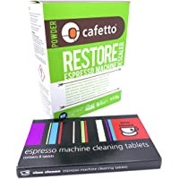 Espresso Machine Cleaning & Descaling Pack Cino Cleano 8 Tablets and Box of 4 Restore Sachets Perfect and Compatible…