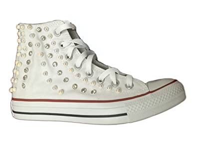 87cd59969e34 Converse All Star Hi Custom (High) With Pearls and Rhinestones Outer Side  With Waterfall