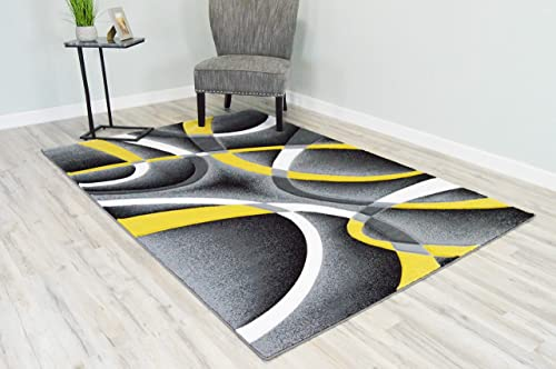 PlanetRugs Inc Premium 3D Effect Hand Carved Modern Abstract 5×7 Colorful Luxury Rug for Bedroom, Living Room, Dining Room Contemporary Carpet 2305 Yellow