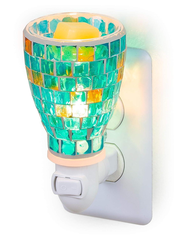 Dawhud Direct Mosaic Glass Plug-in Fragrance Wax Melt Warmers (Mediterranean Tile)