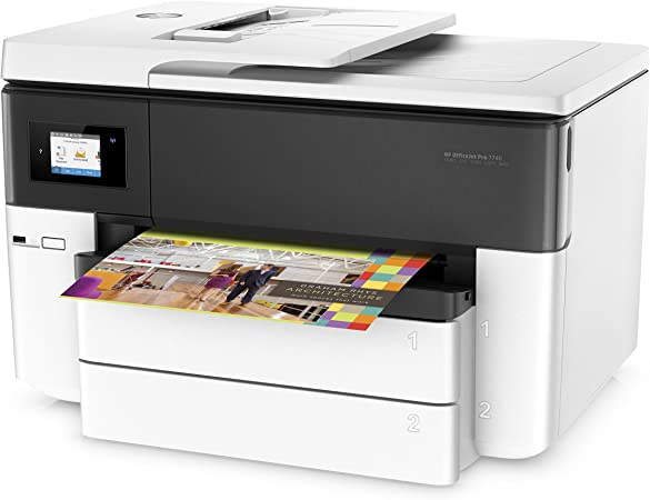 HP OfficeJet Pro 7740 – Impresora multifunción de gran formato (impresión y escaneo A3, pantalla táctil, memoria 512 MB, AAD de 35 hojas, doble cara, fax, Apple AirPrint), color blanco: Hp: Amazon.es: Informática