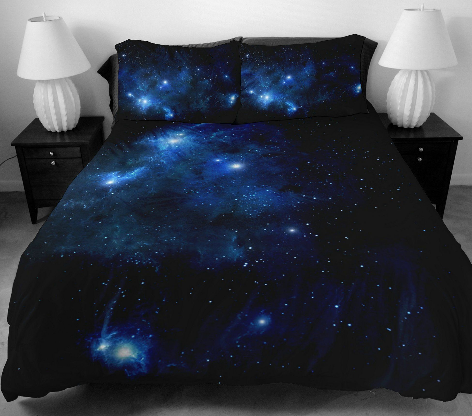 Anlye Boys Bedding Set 2 Sides Printing The Navy Blue Star Duvet Covers With Matching design 2 Pillow Cases For Boys Home Decorating Ideas King