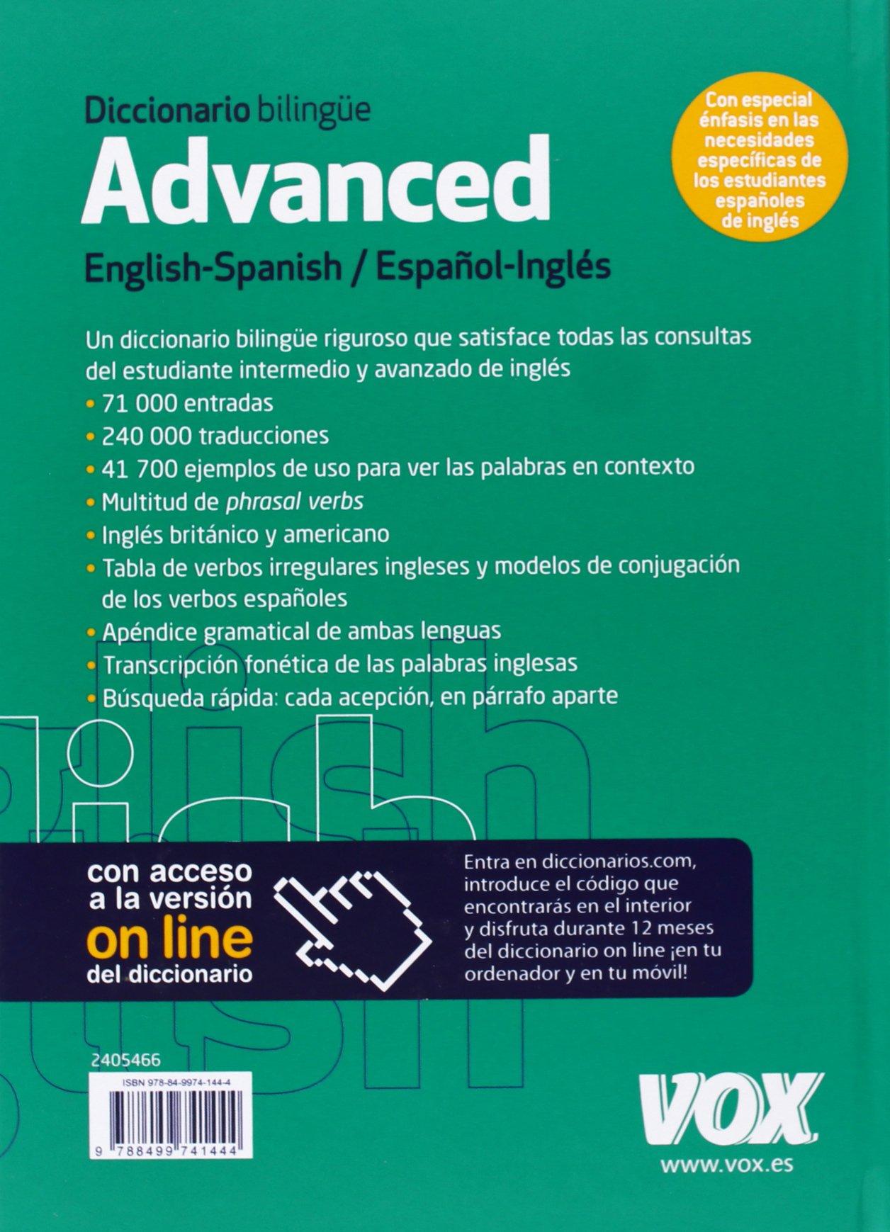 Diccionario Advanced English-Spanish / Español-Inglés Vox - Lengua Inglesa - Diccionarios Generales: Amazon.es: Larousse Editorial: Libros en idiomas ...