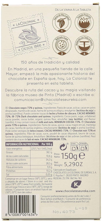 La Colonial Chocolate Negro 72% Cacao con Harina de Quinoa Ecológica - 10 Paquetes de 150 gr - Total: 1500 gr: Amazon.es: Alimentación y bebidas