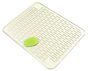 """XXL 23"""" x 18"""" Deep Silicone Dish Drying Mat (LARGEST MAT) With Stay Clean Scrubby   Dish Washer Safe   Heat Resistant Trivet   (Pure White)"""