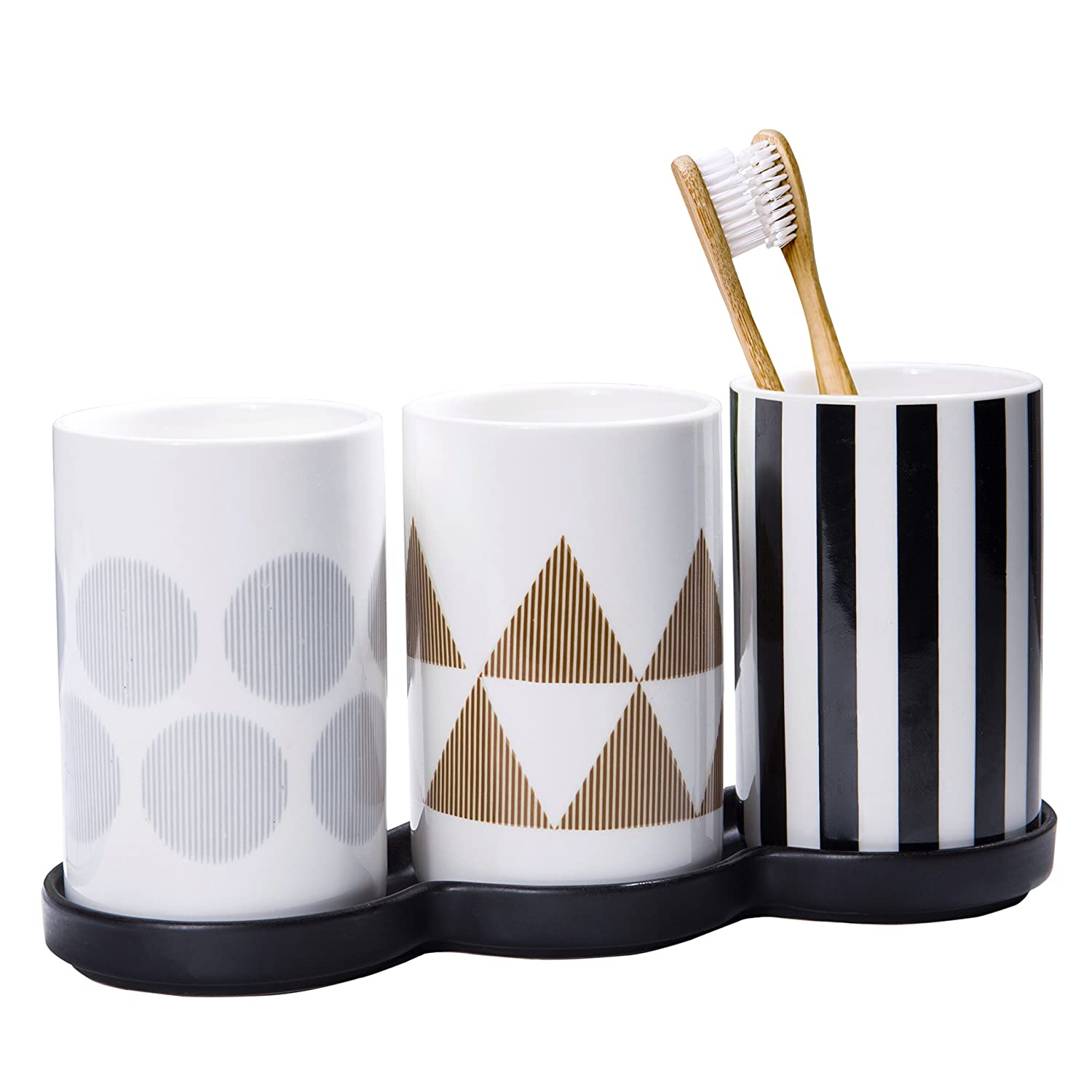 Modern 4-Piece Ceramic Bathroom Set with 2 Rinse Cups, Toothbrush Holder & Display Tray
