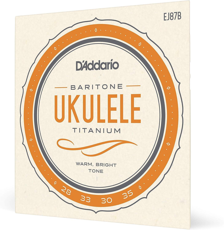 d'Addario EJ87B - Juego de cuerdas para ukelele barítono de titanio, negro