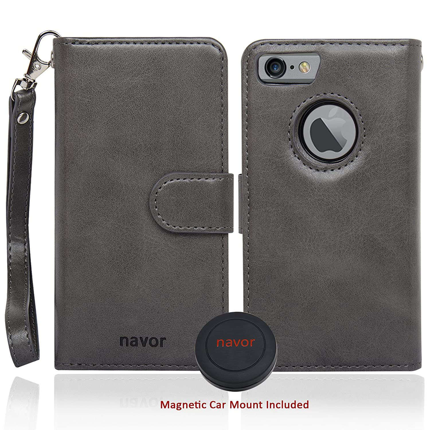 JOOT-3L navor Magnetic Detachable Wallet Case and Universal Car Mount RFID Protection 8 Card Pockets IP73LBK 3 Money Pockets Compatible for iPhone 7 /& 8-4.7 Inch - Black