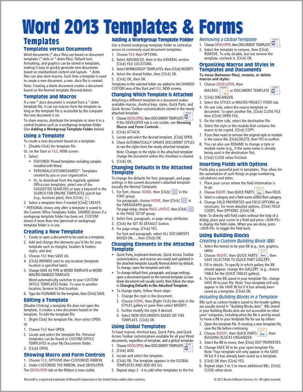 Microsoft word 2013 templates forms quick reference guide cheat microsoft word 2013 templates forms quick reference guide cheat sheet of instructions tips shortcuts laminated card beezix inc 9781936220847 maxwellsz