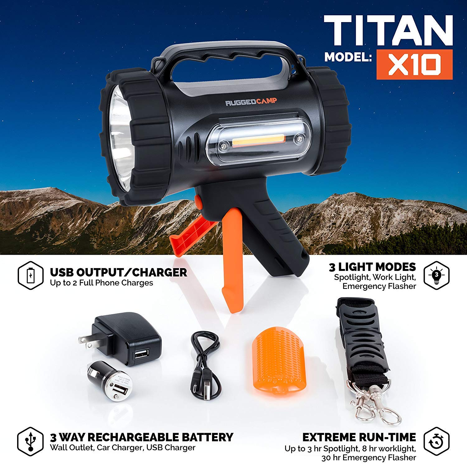 Rugged Camp Titan X10 Rechargeable Spotlight - 1000 Lumens - High Powered 10W LED Bright Flashlight - Work Light & Tripod - Perfect for Camping, Hiking, Hunting, Emergencies & Outdoors (Black/Orange) by Rugged Camp (Image #2)