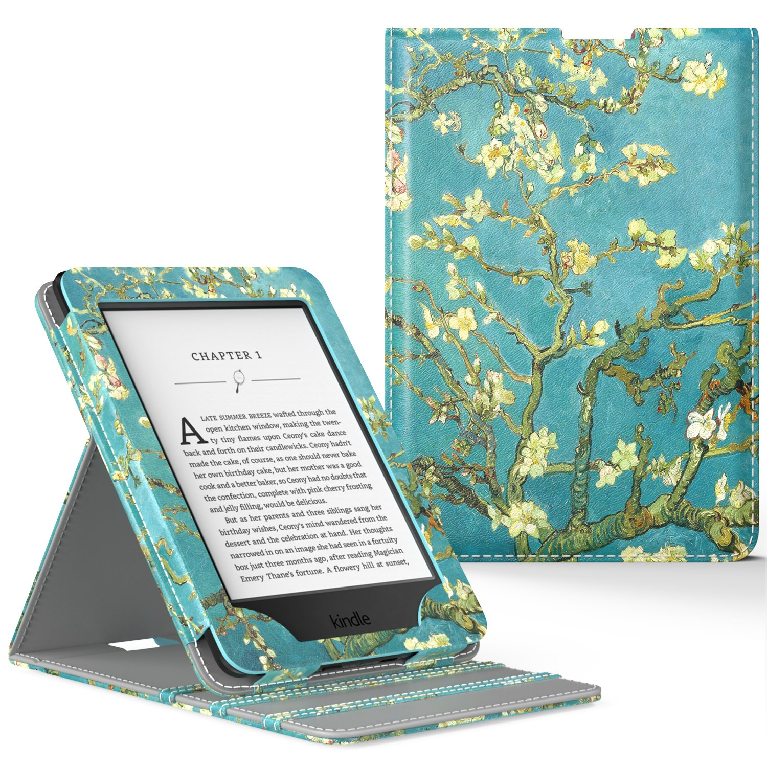 MoKo Case for Kindle Paperwhite, Premium Vertical Flip Cover with Auto Wake / Sleep for Amazon All-New Kindle Paperwhite (Fits All 2012, 2013, 2015 and 2016 Versions), Almond Blossom