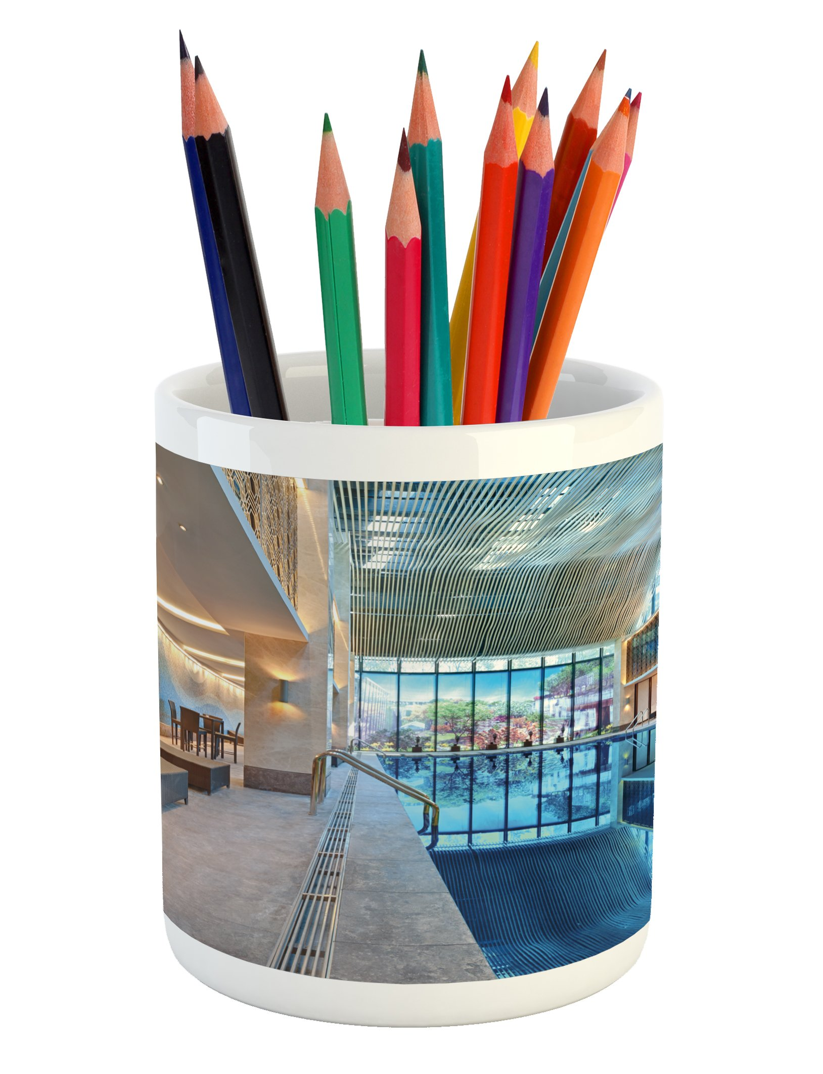 Ambesonne Spa Pencil Pen Holder, Indoor Swimming Pool with Relaxing Long Seats Calming Image Print, Printed Ceramic Pencil Pen Holder for Desk Office Accessory, Turquoise Pale Blue and White
