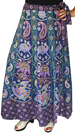 c385ca4c1 Maple Clothing Printed Long Cotton Wrap Around Skirt India Women (Blue, One  Size) at Amazon Women's Clothing store: