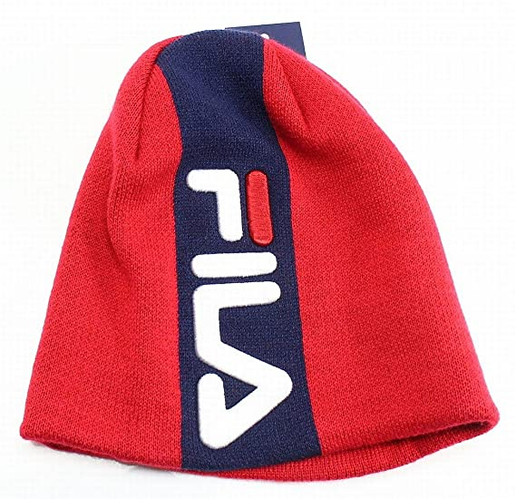 e807c4cd102 FILA Red Embroidered Logo Colorblock Men s One US Size Polar Beanie ...