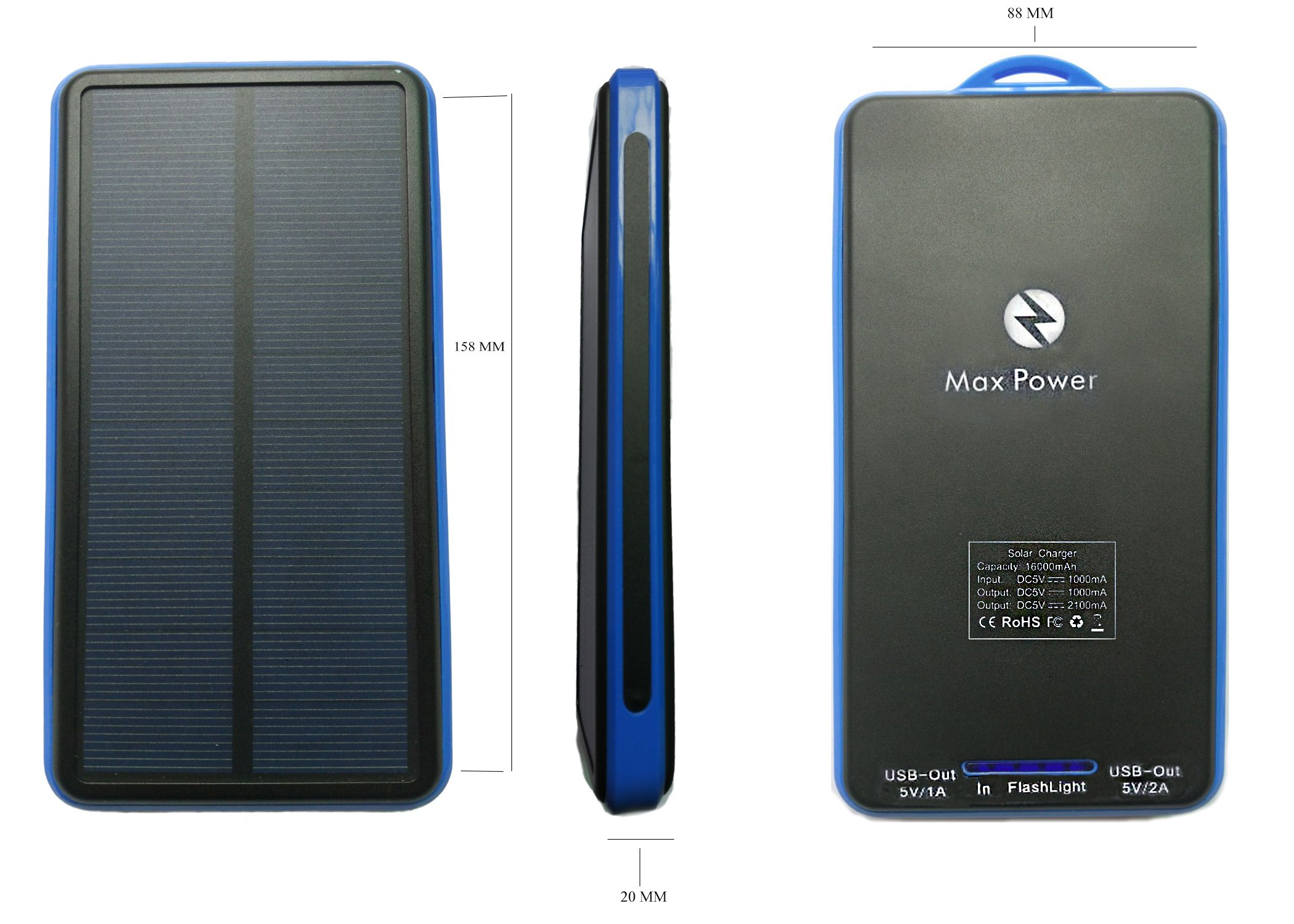 Max Power-Z Solar Charger 16000mAh Power Bank Travel Charger with Portable LED Flashlight For Camping, Hiking, Compatible Smartphone with any Android,Windows- Blue