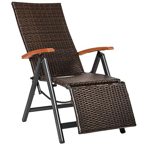 Relaxsessel garten weiß  TecTake Relaxsessel Poly Rattan Aluminium Gartenstuhl mit ...