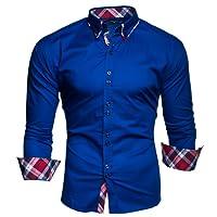 Kayhan Herren Hemd Slim-Fit Langarm Herren Hemden Freizeit Hochzeit Arbeit Business Super Qualität S-6XL