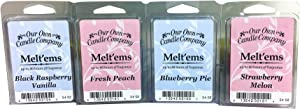 Our Own Candle Company Premium Wax Melt, Black Raspberry Vanilla, Blueberry Pie, Fresh Peach, and Strawberry Melon, Fruit Variety Pack, 6 Cubes, 2.4 oz (4 Pack)