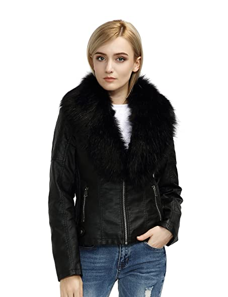 Bellivera Womens Faux Fur Collar Leather Short Jacket at Amazon ...