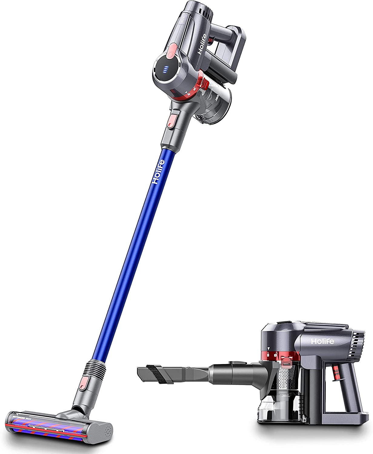 Holife Handheld Upright, 2 in 1 Cordless Stick Rechargeable Vacuum Cleaner, Hand held Vac with High Power & Long Lasting with 18.5V Li ion Battery,