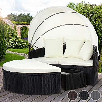 Miadomodo - Canapé de jardin rond avec toit pliant - en poly rotin -  modulable - avec table basse – Noir – COLORIS AU CHOIX