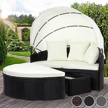Gartenlounge rattan mit dach  Miadomodo Polyrattan Sonneninsel Sonnenliege Lounge Gartenmöbel mit ...