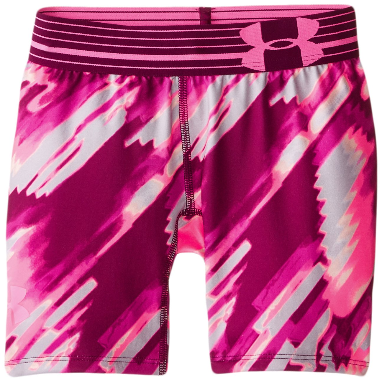 Under Armour Girls' HeatGear Armour Printed Short - 5'', Beet /Pink Punk, Youth Small by Under Armour