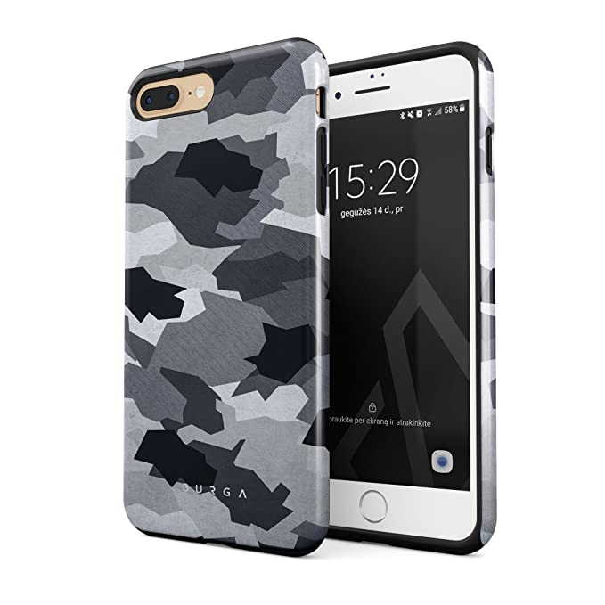 hot sale online e194c aecc0 BURGA Compatible with iPhone 7 Plus iPhone 8 Plus Case Snow White Camo  Camouflage Heavy Duty Shockproof Dual Layer Hard Shell + Silicone  Protective ...