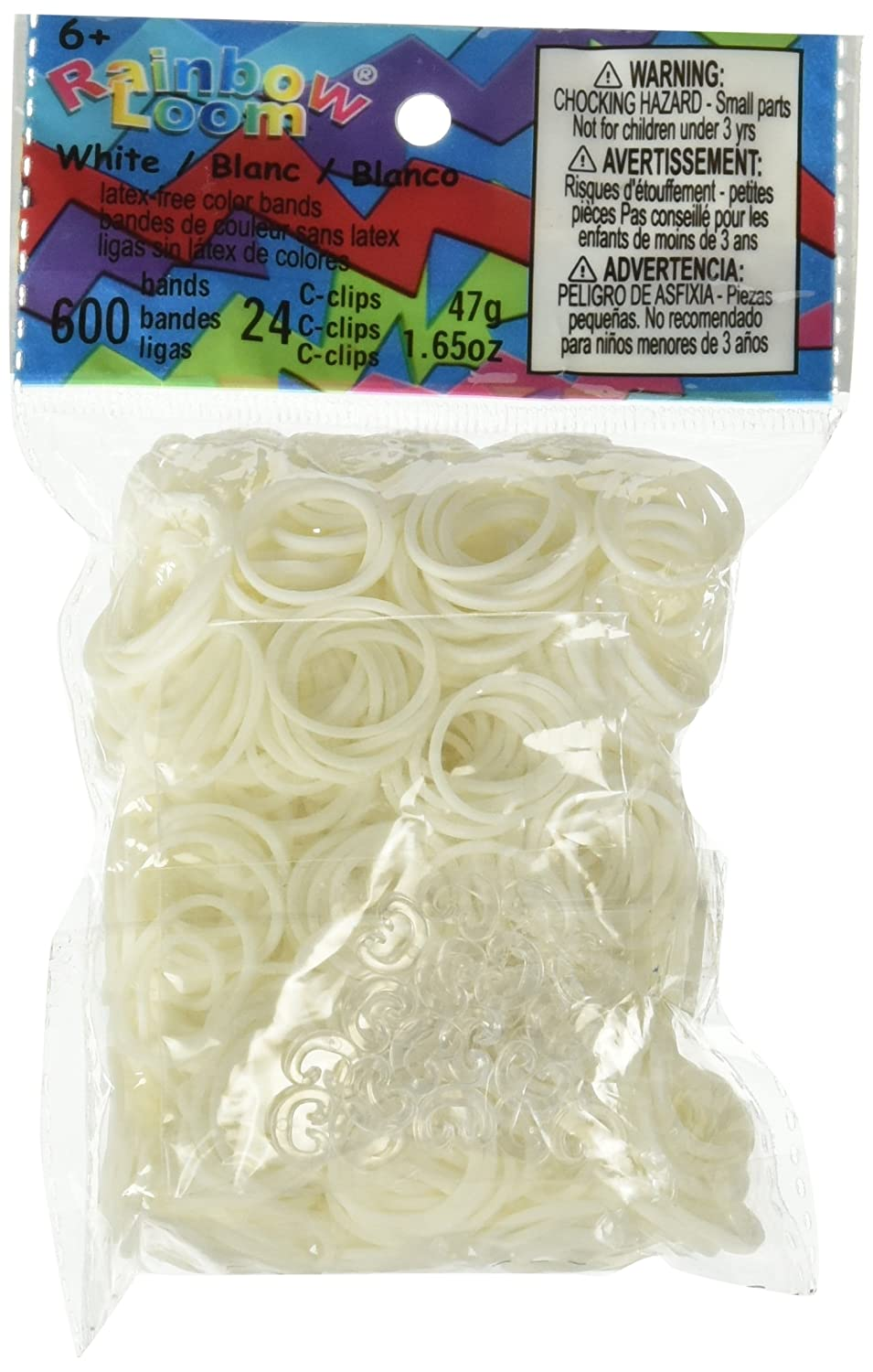 Rainbow Loom Official White Rubber Bands Refill 600 count + 24 C-clips TB011