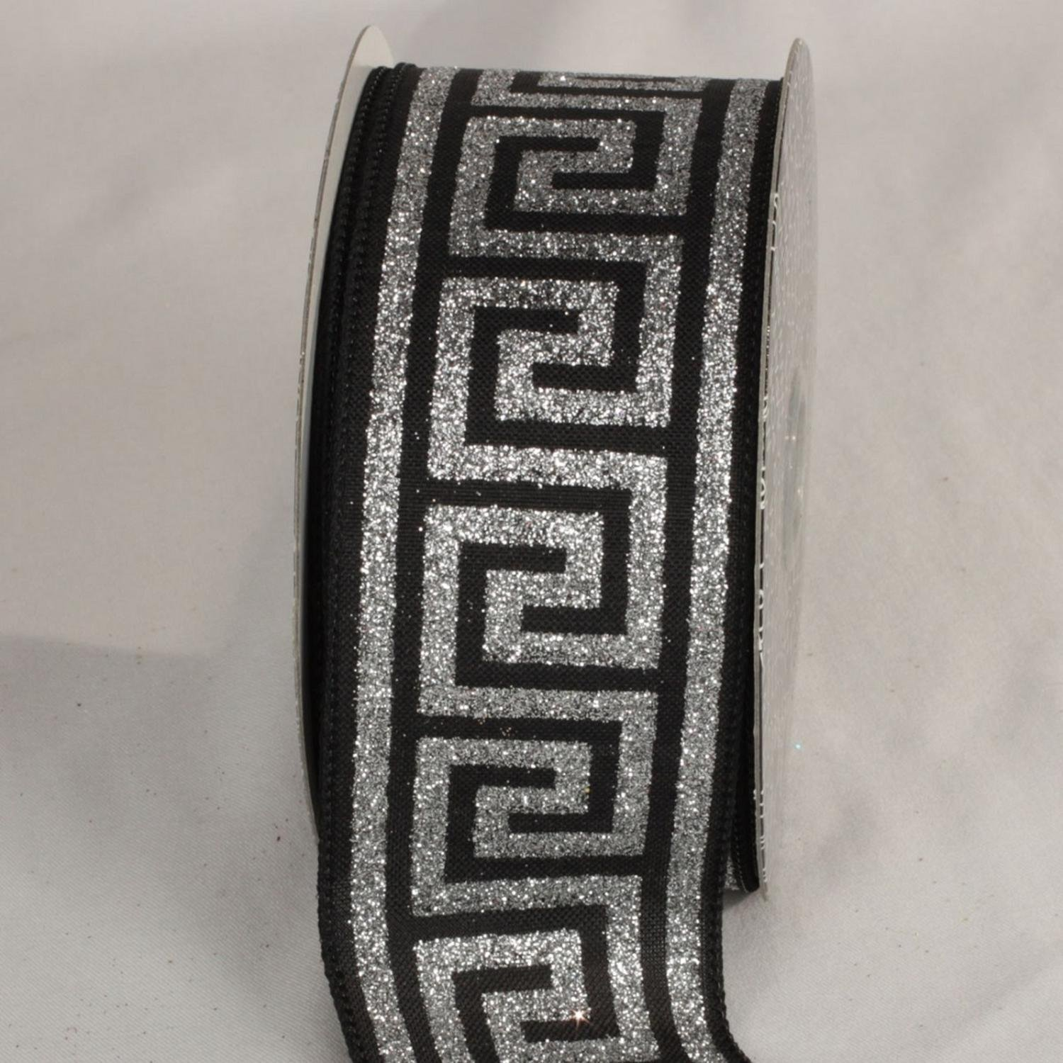 The Ribbon People Silver and Midnight Black Greek Key Wired Craft Ribbon 2.5'' x 20 Yards