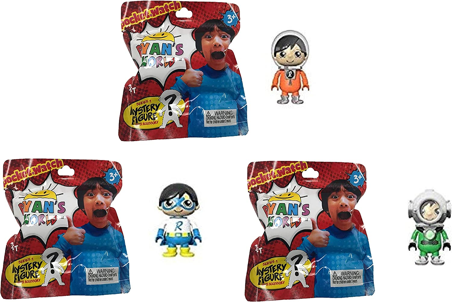 RYAN'S WORLD 3 Pack Figurine Surprise Pack - Includes 3 Random Characters from Ryan's Toy Review