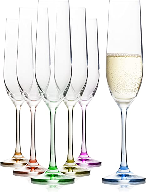 Juego de 6 copas de champán decoradas con cristal arcoíris de colores, perfectas para champán, Prosecco y Mimosas, 100% sin plomo, 190 ml