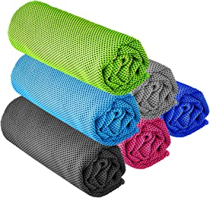 "YQXCC Cooling Towel 3 Pcs (47""x12"") Microfiber Towel for Instant Cooling Relief, Cool Cold Towel for Yoga Golf Travel Gym Sport Camping Football & Outdoor Sports (6 Pack Multiple Colours)"