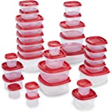 Rubbermaid Easy Find Lids Food Storage and Organization Containers, Set of 30 (60 Pieces Total), Racer Red
